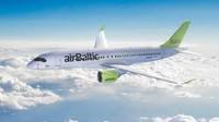 Šeremetjevas starptautiskajā lidostā sagaida airBaltic Bombardier CS300 lidmašīnu