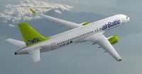 Rīgā ierodas pasaulē pirmā CS300 lidmašīna